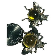 Rare Amber Jelly Belly Figural Fly Crown Trifari Sterling Philippe Earrings