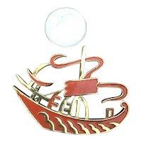 """Vintage Crown Trifari Enameled Oriental """"Junk"""" Figural Boat Brooch"""