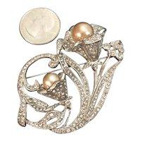 Stunning Vintage Designer Rhinestone Swirled Flower Brooch Faux Pearls Signed