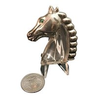Pressed Silver Tone Vintage Jelly Belly Horse Head Brooch