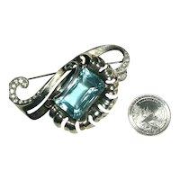 Huge Emerald Cut Aquamarine Rhinestone Sterling Silver Mazer Flower Brooch