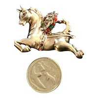 "Vintage ""Jeweled"" Pegasus Figural Winged Horse Rhinestone Inset Sterling Brooch"