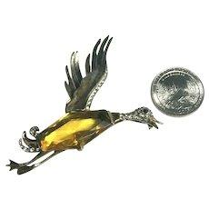 RARE Crown Trifari Alfred Philippe Flying Duck Figural Brooch Sterling Vermeil