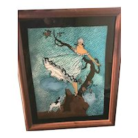 Art Deco Era Teal Colored Foil Backed Reverse Painted Girl & Dog Picture
