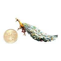 Fabulous Hattie Carnegie Figural Peacock Brooch Enameled & Rhinestone Inset