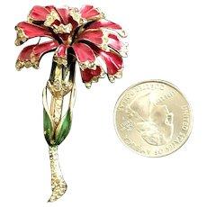 Coro Craft Sterling Vermeil Figural Flower Carnation Brooch Fur Pin