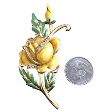 Yellow Coro Large Figural Yellow Enameled Rose & Bud Vintage Brooch