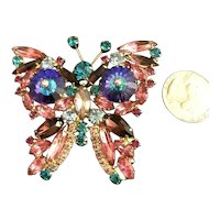 Book Piece Juliana D&E Iridescent Purple Margarita & Rhinestone Butterfly Brooch