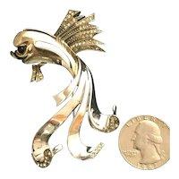 Incredible DeWeese NY Figural Flying Fish Sterling Silver Brooch Rhinestones