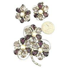 Stunning Amethyst & Lavender Rhinestone HOBE Signed Vintage Brooch & Earring Set