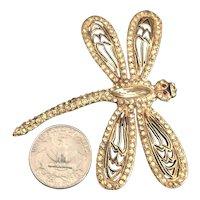 Vintage VOGUE Signed Rhinestone Inset Figural Large Dragonfly Brooch