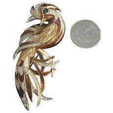 Vintage D'Orlan Enameled & Rhinestone Encrusted Large Figural Bird Brooch