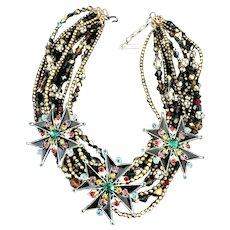 RARE JAY FEINBERG Enameled Maltese Cross Multi-Strand Crystal Vintage Necklace