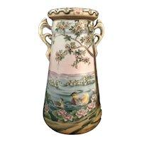 Antique Imperial Hand Painted NIPPON Lotus Flowers & Ducks Exquisite Vase