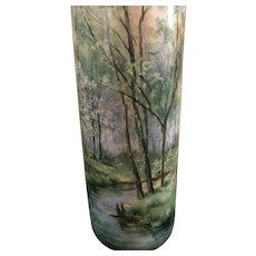 Hugh Stunning Limoges France Scenic Superb Tressemann & Vogt Cylinder Vase