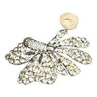 HUGE Vintage Sterling Silver Moth or Butterfly Figural Brooch Rhinestone Encrusted