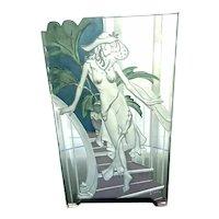 Wendy Saxon Brown Art Glass Art Deco Nouveau Enameled Carved Sculpture Panel