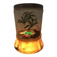 "Original RARE Mid-Century Modern Acrylic Table Lamp, Palm Tree, Glass ""Rocks"""
