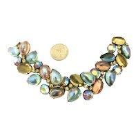 Incredible Iridescent Pear Art Glass Cabochon Alice Caviness Bracelet