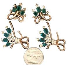 Alfred Philippe Crown Trifari Emerald Green & Crystal Rhinestone Earrings 2 Pins