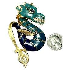 Wonderful VENDOME Enameled Teal & Blue Large Figural Dragon Brooch