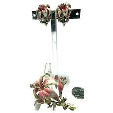 Vintage Enameled Pink & White Lily Figural Brooch & Earrings Pink Rhinestones