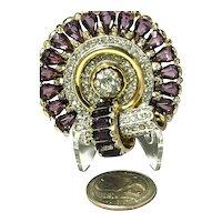 MAGNIFICENT Large 1940's Vintage Amethyst & Crystal Rhinestone Shell Brooch!