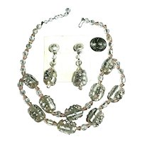 Vintage Foiled & Rhinestone Decorated Venetian Glass Barrel Necklace & Earrings