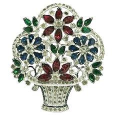 Exquisite Vintage Figural Flower Basket Ruby, Emerald & Blue Flowers Brooch