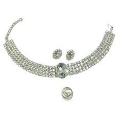 BRILLIANT Vintage Rhinestone Encrusted Choker Necklace & Matching Earrings!