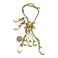 RARE Alice Caviness Palm Frond & Berries Dangling Beaded Necklace & Earrings