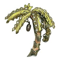 Outrageous Enameled Vintage Figural Palm Tree Brooch Hanging Monkey & Coconut