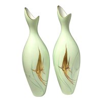 Mid-Century Selb Bavaria Heinrich Stylized Pair of Angelfish Hand Painted Vases!
