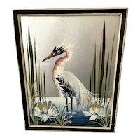 Art Deco Style Mid-Century Modern Original Devoe Painting Stylized Heron Bird