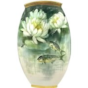 Superb Limoges France W. Guerin & Co. Fish & Waterlily Hand Decorated Vase