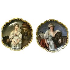 """RARE Museum Quality Greuze Pair Limoges Wall Chargers Signed """"L. Albert"""""""