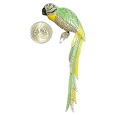 RARE Boucher Large Figural Parrot Enameled & Rhinestone Inset Brooch