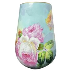 Enormous Limoges France Artist Signed Duval Hand Painted Roses Vase! Exceptional
