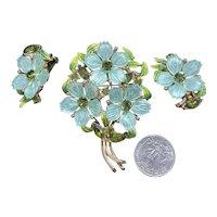 RARE Aqua Molded Acrylic Vintage Flower Bouquet Figural Brooch & Earrings Enamel