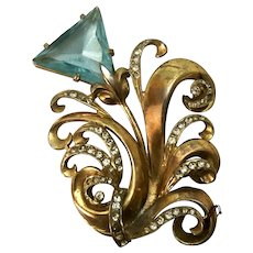 Vintage Aqua Blue Prong Set Rhinestone Triangle Swirled Dimensional Flower Brooch