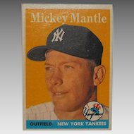 1958 Mickey Mantle New York Yankees Topps Baseball Card