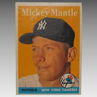 1958 Mickey Mantle New York Yankees Topps Baseball Card