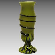 Kralik Corded Art Glass Vase Spatter and Snake Marked Czechoslovakia