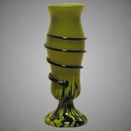 Kralik Corded Art Glass Vase Spatter and Snake Marked Czechoslovakia