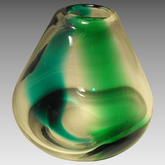 Mid-Century Erickson Art Glass Blue and Green Striped Vase with Polished Base