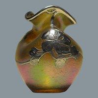 Loetz Candia Silberiris Cabinet Vase with La Pierre Silver Overlay