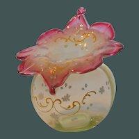 Antique Victorian Rubina Verde Blown Optic Rib Vaseline Glass Vase Enameled Decoration
