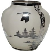 Rockwell Silver Co. Sterling Silver Overlay Satin Glass Vase Flying Goose Decor