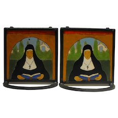 San Jose Mission Mexican Arts and Crafts Tile Bookends in Wrought Iron Frames Ca 1935