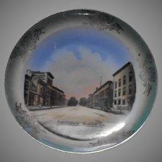 Jonroth Studios Porcelain Souvenir China Plate Washington Street, Mendotta Illinois